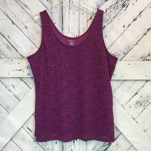 Lane Bryant Purple Floral Lace Tank Top sz 18/20